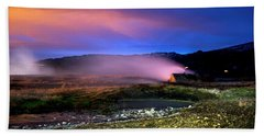 Bath Towel featuring the photograph Icelandic Geyser At Night by Dubi Roman
