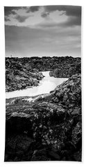 Icelandic Silica Stream In Black And White Hand Towel