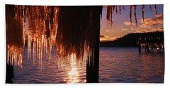 Icicle Stars Sunset Bath Towel by Sean Sarsfield