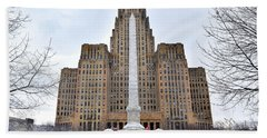 Iconic Buffalo City Hall In Winter Hand Towel