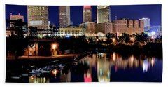 Iconic Night View Of Cleveland Bath Towel