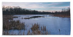 Icy Glazed Wetlands Hand Towel