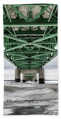 Bath Towel featuring the photograph Icy Mackinac Bridge In Winter by John McGraw