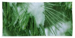 Icy Pine Needles Bath Towel