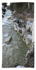 Icy Shores Hand Towel by Greta Larson Photography