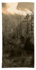 Icy Trees In Sepia Bath Towel