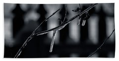 Hand Towel featuring the photograph Icy Twig by Karen Slagle