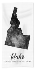 Idaho State Map Art - Grunge Silhouette Bath Towel