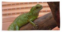 Iguana Balancing On A Tree Branch Bath Towel by DejaVu Designs