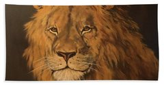 Hand Towel featuring the painting Lion by Jean Walker