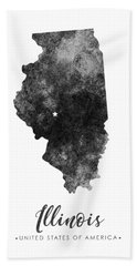 Illinois State Map Art - Grunge Silhouette Bath Towel