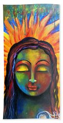 Hand Towel featuring the mixed media Illuminated By Her Own Radiant Self by Prerna Poojara