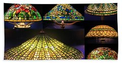 Illuminated Tiffany Lamps - A Collage Hand Towel
