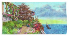 Hand Towel featuring the painting Illustrated Beach Cottage Water's Edge by Judith Cheng