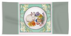 Hand Towel featuring the painting Illustrated Bunny With Easter Floral by Judith Cheng