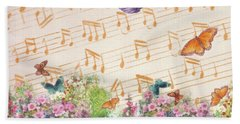 Illustrated Butterfly Garden With Musical Notes Bath Towel