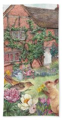 Hand Towel featuring the painting Illustrated English Cottage With Bunny And Bird by Judith Cheng