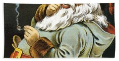 Illustration Of Santa Claus Smoking A Pipe Hand Towel
