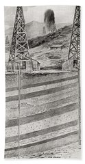 Illustration Showing Oil Derricks Hand Towel