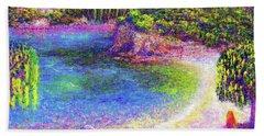 Imagine, Meditating In Beautiful Bay,seascape Hand Towel