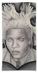 Immortalizing In Stone Jean Michel Basquiat Drawing Bath Towel