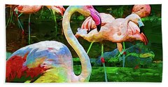 Impasto Flamingo Hand Towel