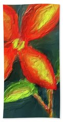 Impasto Red And Yellow Flower Bath Towel
