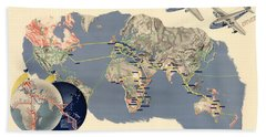 Imperial Airways - Vintage Travel Advertising Poster - World Map Hand Towel