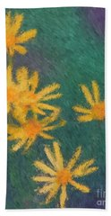 Impressionist Yellow Wildflowers Hand Towel by Smilin Eyes  Treasures