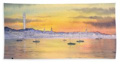 Bath Towel featuring the painting Impressions Of Provincetown by Bill Holkham