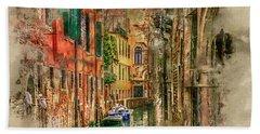 Bath Towel featuring the digital art Impressions Of Venice by Brian Tarr