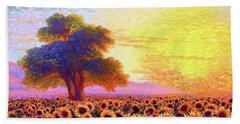 In Awe Of Sunflowers, Sunset Fields Bath Towel