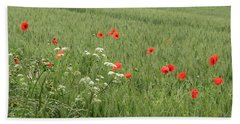 in Flanders Fields the  poppies blow Hand Towel by Mary Ellen Mueller Legault