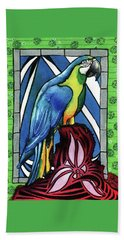 Bath Towel featuring the painting In Love With A Macaw by Dora Hathazi Mendes