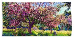 In Love With Spring, Blossom Trees Bath Towel