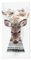 Hand Towel featuring the painting In Nature Deer by Bri B