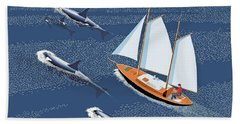 Bath Towel featuring the digital art In The Company Of Whales by Gary Giacomelli