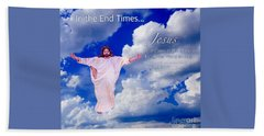 Bath Towel featuring the painting In The End Times Jesus Will Come In The Clouds by Kimberlee Baxter