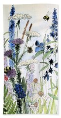 Hand Towel featuring the painting In The Garden by Laurie Rohner
