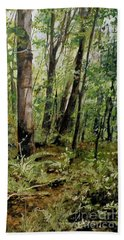 Hand Towel featuring the painting In The Shaded Forest  by Laurie Rohner