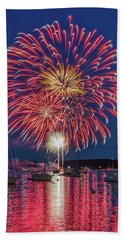 Independence Day Fireworks In Boothbay Harbor Hand Towel