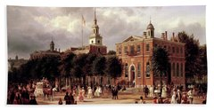 Bath Towel featuring the painting Independence Hall by Ferdinand Richardt