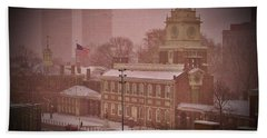 Independence Hall In The Snow Bath Towel