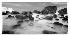 Indian Beach, Ecola State Park, Oregon, In Black And White Bath Towel
