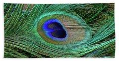 Indian Blue Peacock Macro Hand Towel by Blair Wainman