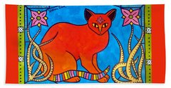 Hand Towel featuring the painting Indian Cat With Lilies by Dora Hathazi Mendes