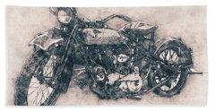 Indian Chief - 1922 - Vintage Motorcycle Poster - Automotive Art Bath Towel