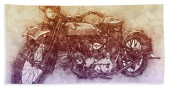 Indian Chief 2 - 1922 - Vintage Motorcycle Poster - Automotive Art Bath Towel