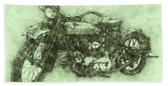 Indian Chief 3 - 1922 - Vintage Motorcycle Poster - Automotive Art Bath Towel