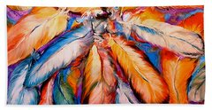 Indian Feathers 2006 Hand Towel by Marcia Baldwin
